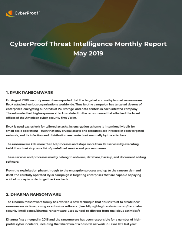 Monthly Threat Intelligence Summary Report - May 2019